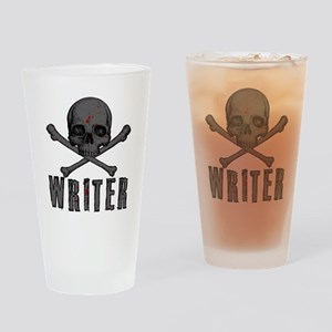 Writer-skull-splatter Drinking Glass