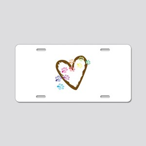 paw hearts Aluminum License Plate