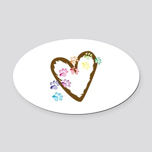 paw hearts Oval Car Magnet