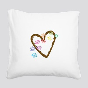 paw hearts Square Canvas Pillow
