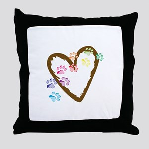 paw hearts Throw Pillow