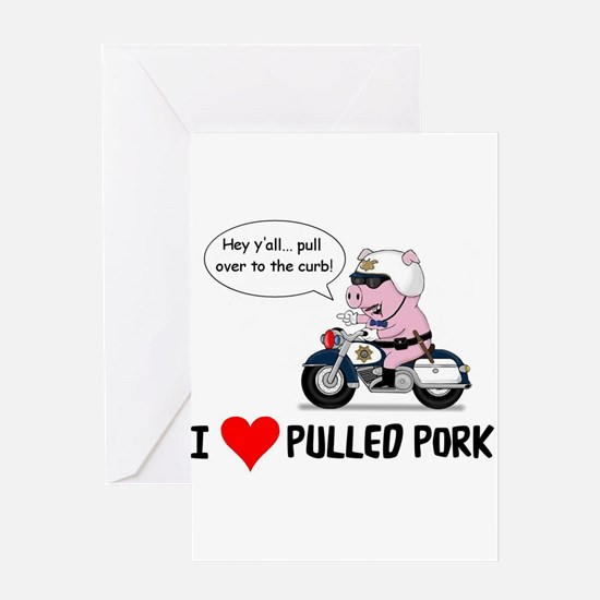 I Heart Pulled Pork Greeting Cards