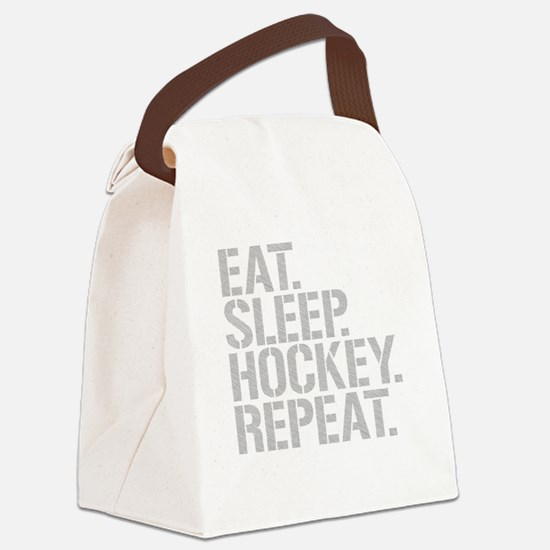Eat Sleep Hockey Repeat Canvas Lunch Bag