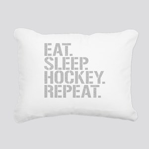 Eat Sleep Hockey Repeat Rectangular Canvas Pillow