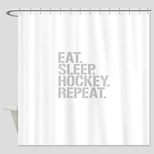 Eat Sleep Hockey Repeat Shower Curtain