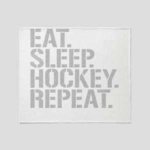 Eat Sleep Hockey Repeat Throw Blanket