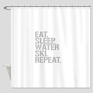 Eat Sleep Waterski Repeat Shower Curtain