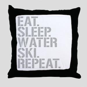 Eat Sleep Waterski Repeat Throw Pillow