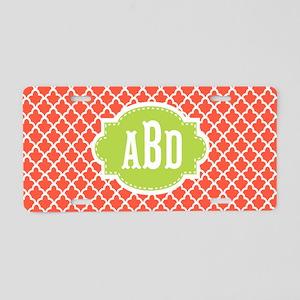 Coral Lime Quatrefoil Monogram Aluminum License Pl