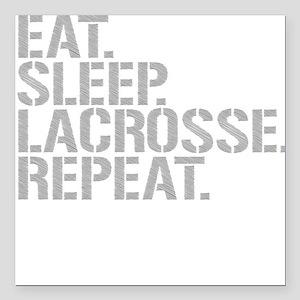 "Eat Sleep Lacrosse Repeat Square Car Magnet 3"" x 3"