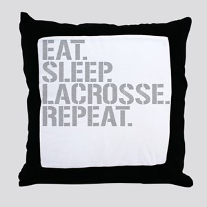 Eat Sleep Lacrosse Repeat Throw Pillow
