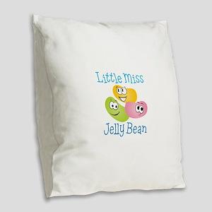Little Miss Jelly Bean Burlap Throw Pillow