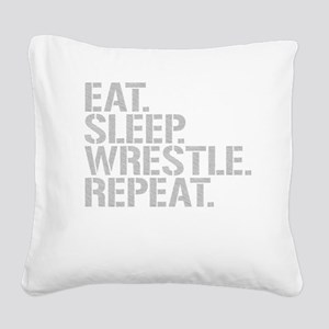 Eat Sleep Wrestle Repeat Square Canvas Pillow