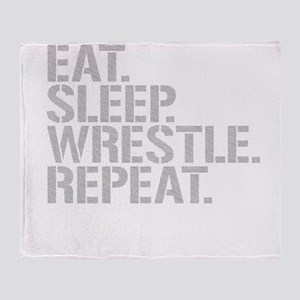 Eat Sleep Wrestle Repeat Throw Blanket