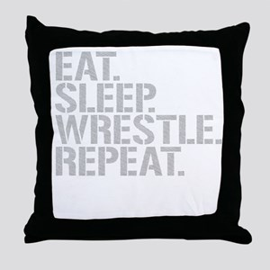 Eat Sleep Wrestle Repeat Throw Pillow