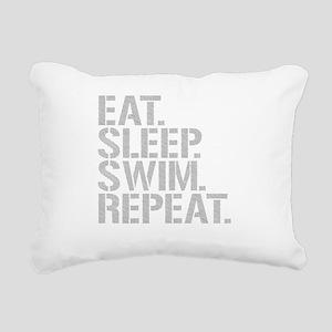 Eat Sleep Swim Repeat Rectangular Canvas Pillow