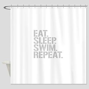 Eat Sleep Swim Repeat Shower Curtain