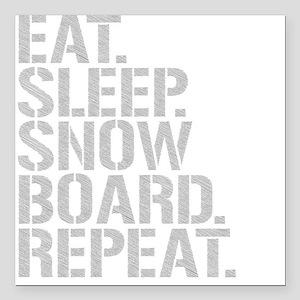 "Eat Sleep Snowboard Repeat Square Car Magnet 3"" x"