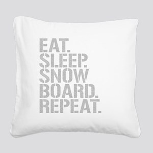 Eat Sleep Snowboard Repeat Square Canvas Pillow