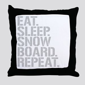 Eat Sleep Snowboard Repeat Throw Pillow