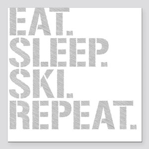 "Eat Sleep Ski Repeat Square Car Magnet 3"" x 3"""