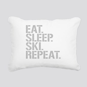Eat Sleep Ski Repeat Rectangular Canvas Pillow