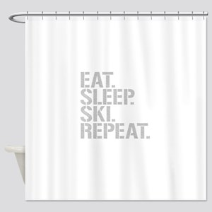 Eat Sleep Ski Repeat Shower Curtain