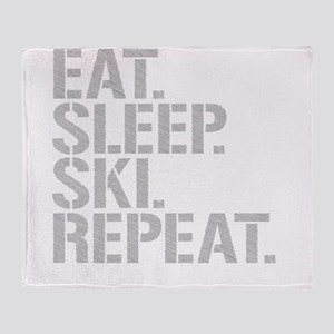 Eat Sleep Ski Repeat Throw Blanket