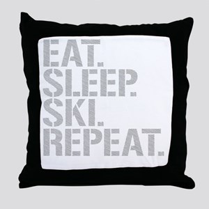 Eat Sleep Ski Repeat Throw Pillow