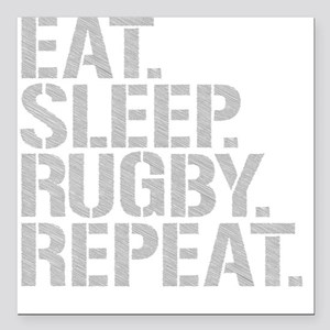 """Eat Sleep Rugby Repeat Square Car Magnet 3"""" x 3"""""""