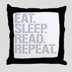 Eat Sleep Read Repeat Throw Pillow