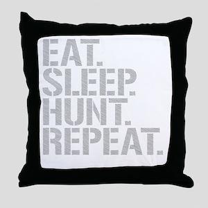Eat Sleep Hunt Repeat Throw Pillow