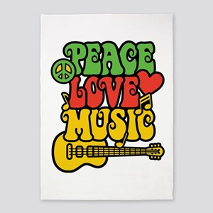 Peace-Love-Music 5'x7'area Rug