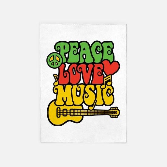 Peace-Love-Music 5'x7'area Rug