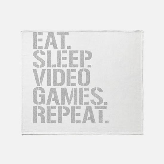 Eat Sleep Video Games Repeat Throw Blanket