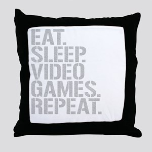 Eat Sleep Video Games Repeat Throw Pillow