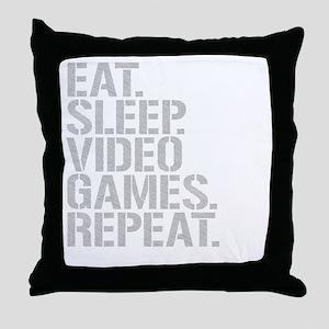 Eat Sleep Video Games Repeat Throw Pillow