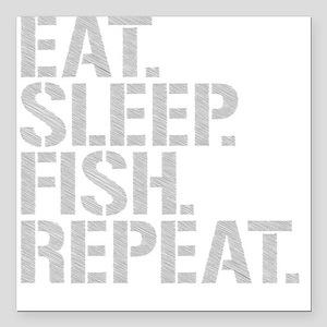 "Eat Sleep Fish Repeat Square Car Magnet 3"" x 3"""