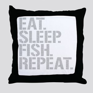 Eat Sleep Fish Repeat Throw Pillow