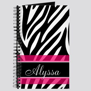 Zebra Print Pink Personalized Journal