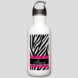 Zebra Print Pink Personalized Water Bottle
