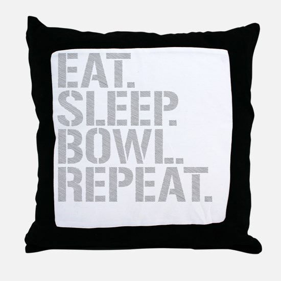 Eat Sleep Bowl Repeat Throw Pillow