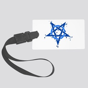 Blue Satanic Spotted Pentagram Large Luggage Tag