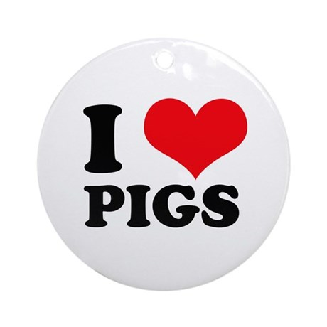 I Heart Pigs Ornament (Round)