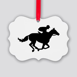 Horse race racing Picture Ornament