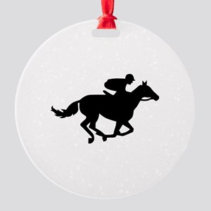 Horse race racing Round Ornament