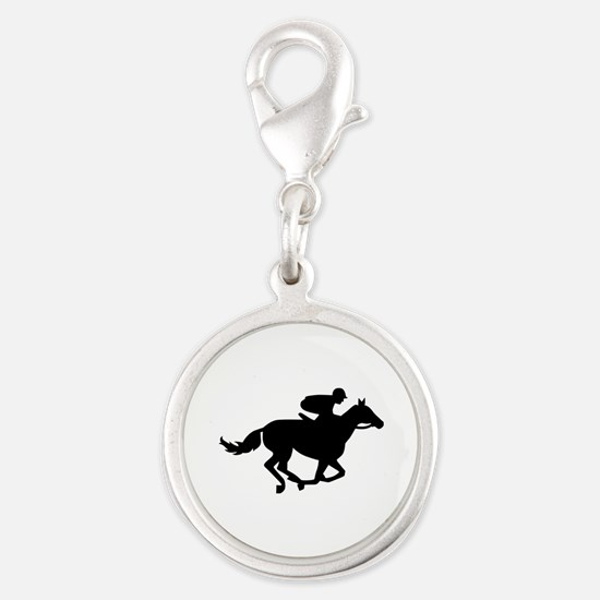 Horse race racing Silver Round Charm