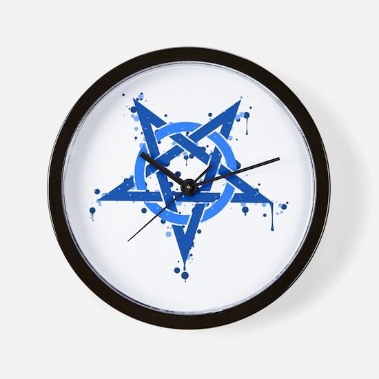 Blue Satanic Spotted Pentagram Wall Clock