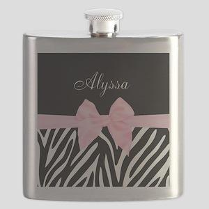 Black Pink Bow Zebra Personalized Flask