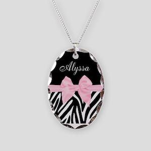 Black Pink Bow Zebra Personalized Necklace